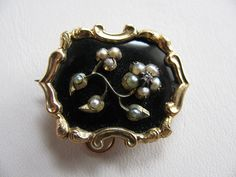 Victorian Mourning Brooch  Enamel Seed by victoriansentiments, $150.00