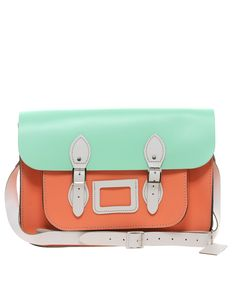 Mint and Coral Leather Satchel