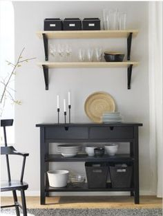 #Living_Room_Furniture - Sofas, Coffee Tables & Inspiration - IKEA  NORDEN Sideboard, black $149.00 Article Number: 602.522.50