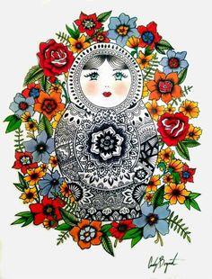 "Saatchi Art Artist: Cady Bogart; Paper 2012 Painting ""Matryoshka"""