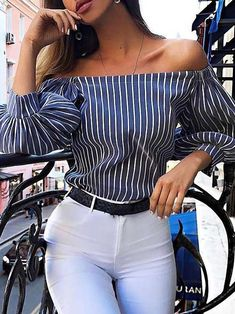 Off shoulder striped puff sleeve blouse wardrobe in 2019 пла Stylish Summer Outfits, Classy Outfits, Trendy Outfits, Fashion Outfits, Cute Fashion, Look Fashion, Trendy Fashion, 80s Fashion, Womens Fashion