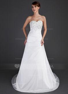 Wedding Dresses - $175.99 - A-Line/Princess Sweetheart Court Train Taffeta Wedding Dress With Ruffle Lace Beadwork (002000482) http://jjshouse.com/A-Line-Princess-Sweetheart-Court-Train-Taffeta-Wedding-Dress-With-Ruffle-Lace-Beadwork-002000482-g482