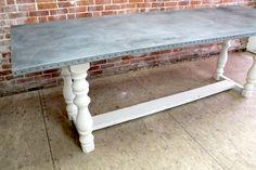 Beautiful Custom Zinc Kitchen Island Table
