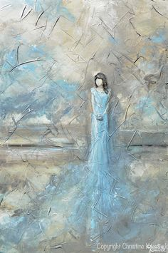 A Place in Time - 24x36 ORIGINAL art, abstract, female figure painting, textured, contemporary fine art, depicting a girl in a blue dress. This highly textured, hand-painted, contemporary piece draws the viewer in with its romantic feel and wonder of the story of the woman. With its