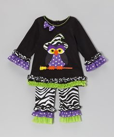 Take a look at this Black & Lime Owl Tunic & Zebra Ruffle Leggings - Infant by Rare Editions on #zulily today!