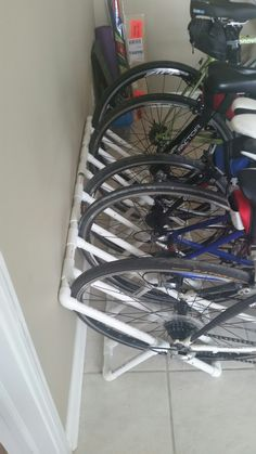 easy lightweight pvc bike rack that is great for home the back of