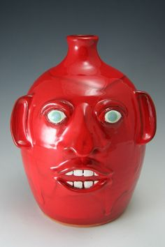 Joe Reinhardt Red 1 G Face Jug Cawtawba Valley North Carolina Pottery