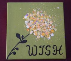 Wish - Dandelion - acrylic painting on canvas, splatter, flower, summer, yellow, green, inspirational. $30.00, via Etsy.