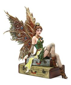 Look what I found on #zulily! Steampunk Fairy On Suitcases Figurine #zulilyfinds