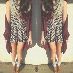 floral dress, long cardigan, chunky infinity scarf, brown combat boots