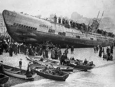 A German U-boat stranded on the South Coast of England