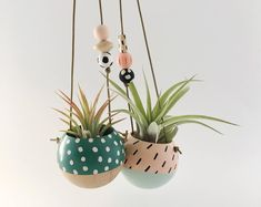 Our hand-painted mini hanging planters feature hand sculpted clay beads and hand painted wooden beads on a leather cord. The mini planters are designed for air plants or mini soil based succulents…MoreMore Hanging Air Plants, Hanging Succulents, Diy Hanging, Hanging Planters, Cactus Flower, Flower Pots, Mini Vasos, Succulent Planter Diy, Wood Planters