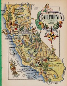 WHIMSICAL CALIFORNIA Map of California Gallery Wall Art Fishing GOLD Mining Cowboy Silk Worm Farming Fun Vintage 1940s Picture Map 6798 by plaindealing on Etsy