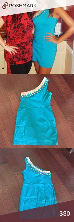 One Shoulder Studded Dress One Shoulder Studded Dress by Karlie. Size M but fits like a small. Zips up the side. Turquoise blue, tan top with good studs. Only worn 2-3 times, perfect condition. Super cute!!! karlie Dresses One Shoulder