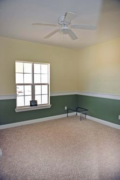 Yellow and Green guest room.  Window faces west.