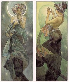 Alphonse Mucha - Study for The Moon, 1902; Study for The North Star, 1902