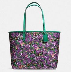COACH F57667 Reversible City Tote In Rose Meadow Print Violet Multi Color NEW #Coach #TotesShoppers