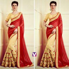 Classy meets elegance. Shop this Saree by Product Code: 6236025.#saree #ethnicwear #weddingwear #festivewear #redsaree #onlineshopping #voonik