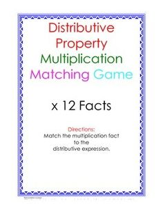 Match the distributive expression to the correct times 12 fact. Facts are red and distributive expressions are blue. Includes an answer key. Makes a great practice or review center and can be used in small groups.Print on card stock and laminate.Created in MS Word 2011 for Mac and saved as PDF.