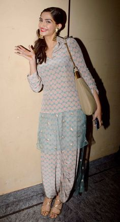 Sonam Kapoor seen in a Payal Singhal suit at screening of 'Finding Fanny' #Bollywood #Fashion #Style #Beauty