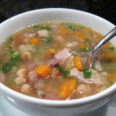 Bean and ham soup in pressure cooker-was delicious and a big hit with the family-and quick and easy!