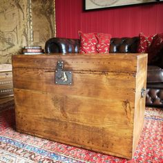ANTIQUE WOODEN CHEST Rustic Industrial Trunk Reclaimed Victorian Deed Box Vintage  Storage Chest Tv Stand Side Table | Flat Ideas | Pinterest | Wooden Chest,  ...