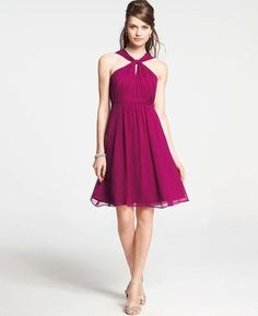 Ann Taylor - Silk Georgette Keyhole Halter Dress #15Things #fashion #style #trending #wedding #AnnTaylor #halter #dress
