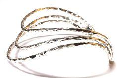 Silver handmade three row bangle