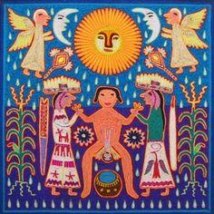 India huichola Pintura Tribal, Birth Art, Yarn Painting, Mexico Culture, Aboriginal People, Mexican Designs, Arte Popular, Indigenous Art, Mexican Art