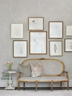 Gallery wall and gilded settee South Shore Decorating Blog: Themeless Thursday #6
