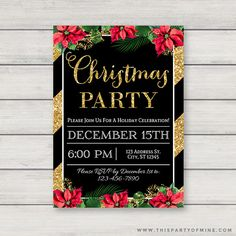 Black and Gold Glitter Holiday Invites