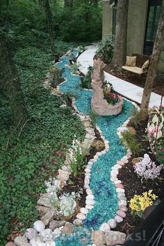 Dry river bed landscaping ideas:recycled colored glass pebbles Interested in renovating your garden? Nothing is more stunning than these dry river bed landscaping ideas. Read on, get inspired, and learn how! Cheap Landscaping Ideas, Decorative Rock Landscaping, Landscaping With Rocks, Front Yard Landscaping, Mulch Landscaping, Landscaping Software, Landscaping Borders, Landscaping Images, Dry River