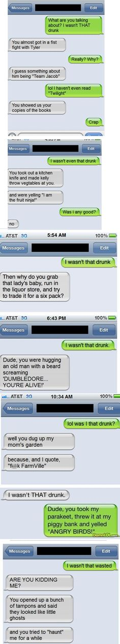 I Wasn't That Drunk Texts