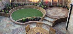 Circles, brick & stone patio, different levels... Etc etc