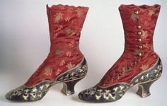 Boots: 1883, high-button style of silk satin brocade with kidskin vamp, quarter, and baby French heel, kidskin decorated with cut-out pattern of rhododendron leaves underlaid with gold-colored kid, scallop-edge closure along side with circular brass buttons.