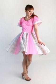 Vintage Hot Pink Lolita Dress - Floral Bubblegum Square Dance Dress by zwzzy, $55.00
