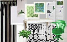 white frames, black or white rug, pops of green