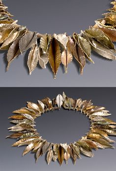"Necklace | Craig Vandeman. ""Nature's Protection ~ Form Fold Series"" Sterling Silver, Red Brass, Nickel Silver, Garnet"