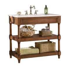 Home Decorators Collection Montaigne 37 in. W x 22 in. D Open Vanity Cabinet Only in Weathered Oak-0417110560 at The Home Depot