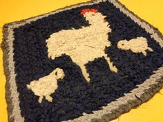 Small Chicken Braided, Woven, Hooked Rug, Rustic Braided Rug Table Mat by FairchildsInc on Etsy