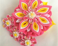 Handmade Kanzashi ladies women large hair by MARIASFLOWERPOWER