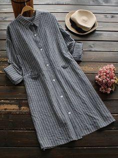 Basic Women Striped Turn-Down Collar Long Sleeve Blouses
