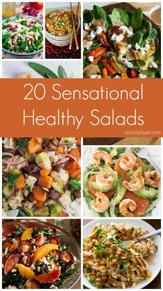 20 Sensational Healthy Salads   www.afamilyfeast.com   #salads #healthy #roundup