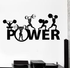 Wall Vinyl Decal Powerlifting Bodybuilding Sport Barbell Home Interior Decor Unique Gift Logos Gym, Gym Logo, Fitness Logo, Fitness Posters, Fitness Tattoos, Yoga Fitness, Bodybuilding, Gym Interior, Interior Decorating
