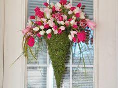 Tulip Door Arrangement, Tulip Wreath, Pink, White, Magenta Tulips with Greenery. $59.00, via Etsy.