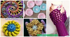 A Collection of Crochet Bullion Stitch Free Patterns: Crochet Bullion Stitch Flowers, Square, Coasters, Blankets, fingerless gloves and video instruction