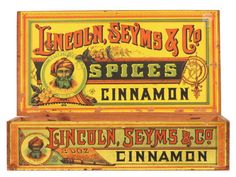 Spice Box. 11.75 x 16 x 8.5 (as shown w/ lid up) unusual, early store display box for Lincoln, Seyms & Co's Cinnamon, featuring amazingly colorful and intricate graphics of an old man portrait and floral and geometric decorations.