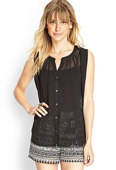 Chiffon Button-Front Top | FOREVER 21 - 2000062883