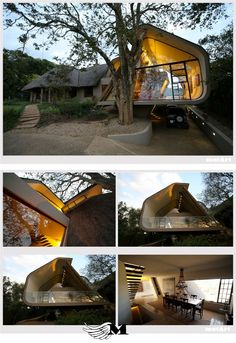 I love the modern twist to the African Design of this private home in South Africa