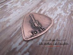 Etched Copper Guitar Pick  Guitar  Dad Gift by MotherDaughterJewel, $19.00